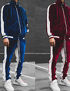 cheap -Men's 2 Piece Full Zip Tracksuit Sweatsuit Street Casual 2pcs Long Sleeve Pleuche Moisture Wicking Breathable Soft Gym Workout Running Active Training Jogging Exercise Sportswear Normal Jacket Track