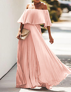 cheap -Women's Maxi long Dress Swing Dress Blue Yellow Blushing Pink Black Rose Red Half Sleeve Ruched Pleated Solid Color Off Shoulder Spring Summer Party Elegant Modern 2021 Regular Fit S M L XL XXL XXXL