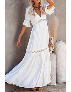 cheap -Women's Swing Dress Maxi long Dress Half Sleeve Solid Color Spring Summer V Neck Elegant & Luxurious 2021 S M L XL XXL