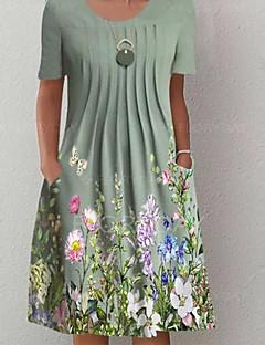 cheap -Women's Knee Length Dress A Line Dress Green Short Sleeve Pocket Print Floral Round Neck Summer Holiday Casual 2021 Regular Fit S M L XL XXL