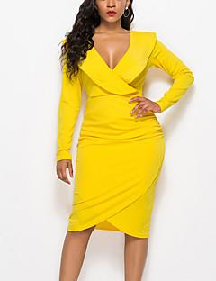 cheap -Women's Knee Length Dress A Line Dress Yellow Wine Fuchsia Royal Blue White Black Light Blue Long Sleeve Ruffle Solid Color V Neck Fall Holiday Casual 2021 Regular Fit S M L XL XXL 3XL