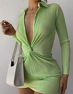 cheap -Women's Short Mini Dress Sheath Dress Green Black Long Sleeve Solid Color V Neck Fall Summer Holiday Casual Sexy 2021 S M L