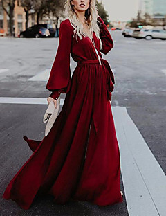 cheap -Women's Maxi long Dress A Line Dress Purple Wine Green Long Sleeve Split Lace up Solid Color V Neck Fall Spring Holiday Elegant Casual 2021 Regular Fit S M L XL XXL / Party