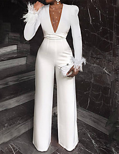 cheap -Women's Business Work Wide Leg White Jumpsuit Slim Solid Colored