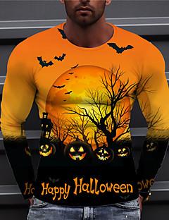cheap -Men's Unisex Tee T shirt Shirt Graphic Prints Pumpkin 3D Print Print Halloween Long Sleeve Tops Casual Designer Big and Tall Orange