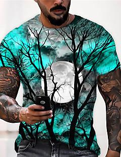 cheap -Men's Unisex Tee T shirt Shirt Graphic Prints Moon 3D Print Print Halloween Short Sleeve Tops Casual Designer Big and Tall Blue Purple Gray / Summer