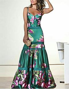 cheap -Women's Maxi long Dress A Line Dress Green Navy Blue Sleeveless Backless Print Floral V Neck Fall Summer Party Club Casual Sexy 2021 Regular Fit S M L XL XXL 3XL