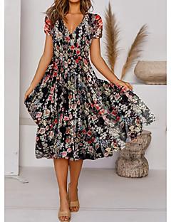 cheap -Women's Knee Length Dress Swing Dress Rainbow Short Sleeve Print Floral V Neck Fall Summer Boho 2021 Regular Fit S M L XL XXL