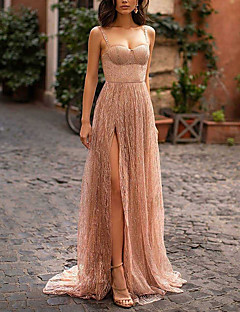 cheap -Women's Strap Dress Maxi long Dress Beige Sleeveless Solid Color Split Mesh Patchwork Spring Summer Strapless cold shoulder Party Elegant Formal Party Holiday 2021 S M L XL XXL