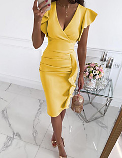 cheap -Women's Knee Length Dress Sheath Dress Purple Yellow Black Red Apricot Short Sleeve Ruched Ruffle Solid Color V Neck Spring Summer Party Holiday Elegant Sexy 2021 Slim S M L XL XXL