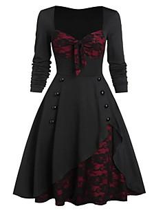 cheap -Women's Knee Length Dress A Line Dress Purple Green Black Long Sleeve Lace Patchwork Floral V Neck Fall Halloween Casual 2021 L XL XXL 3XL 4XL 5XL