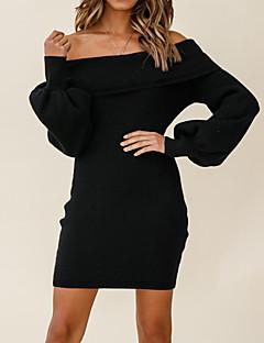 cheap -Women's Short Mini Dress Sweater Jumper Dress Gray Dark Green Black Red Long Sleeve Backless Solid Color Off Shoulder Fall Casual Lantern Sleeve 2021 S M L XL XXL