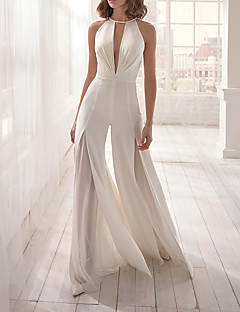 cheap -Women's Casual Deep V Party Evening Plunging White Jumpsuit Backless Solid Colored