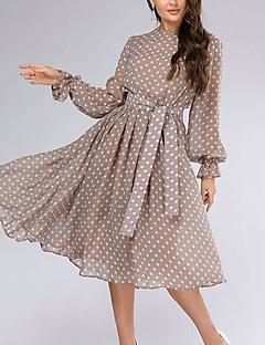 cheap -Women's Midi Dress Swing Dress Beige Long Sleeve Lace up Polka Dot Round Neck Fall Winter Casual Vintage 2021 S M L XL XXL