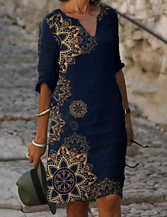 cheap -Women's Knee Length Dress Shift Dress Blue Half Sleeve Print Floral V Neck Spring Summer vacation dresses Hot Elegant 2021 Loose M L XL XXL 3XL