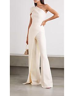 cheap -Women's Streetwear Wide Leg White Jumpsuit Slim Solid Colored