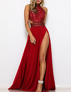cheap -Women's Maxi long Dress Swing Dress Red Sleeveless Backless Split Hollow Out Solid Color Stand Collar Fall Winter Party Elegant & Luxurious Romantic 2021 S M L XL