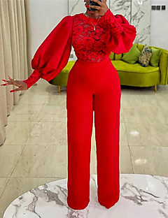 cheap -Women's Casual Streetwear Crew Neck Street Daily Wear High Waist Red Jumpsuit Solid Colored