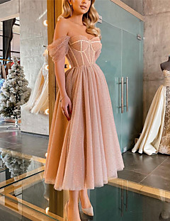 cheap -Women's Midi Dress A Line Dress Purple Apricot Sleeveless Cold Shoulder Solid Color Off Shoulder Spring Summer Party Holiday Party Elegant Casual 2021 Regular Fit S M L XL