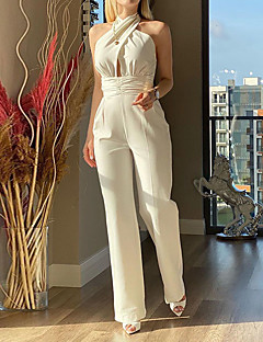 cheap -Women's Casual Daily Streetwear Halter Neck Casual Daily Wear High Waist White Jumpsuit Backless Solid Colored Cotton