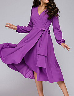 cheap -Women's Midi Dress A Line Dress Purple Red Long Sleeve Lace up Ruffle Solid Color V Neck Fall Summer Elegant Casual 2021 S M L XL XXL