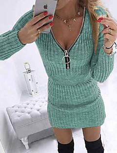 cheap -Women's Short Mini Dress Sweater Jumper Dress Blue Purple Blushing Pink Gray Khaki Green Black Long Sleeve Zipper Solid Color V Neck Fall Winter Party Holiday Club Work Elegant Casual 2021 Regular Fit