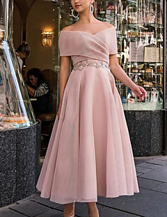cheap -Women's Midi Dress A Line Dress Blue Blushing Pink Short Sleeve Ruched Lace Solid Color V Neck Off Shoulder Fall Winter Hot Elegant 2021 S M L XL / Party Dress