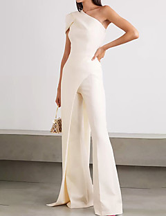 cheap -Women's Casual One Shoulder Daily Wear High Waist White Jumpsuit Split Solid Colored