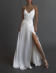 cheap -Women's Maxi long Dress Swing Dress White Sleeveless Split Solid Color Deep V Spring Summer Party Hot Elegant 2021 S M L XL XXL