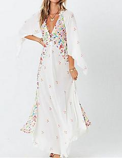 cheap -Women's Maxi long Dress Swing Dress White Black 3/4 Length Sleeve Print Floral Print V Neck Fall Summer Casual Boho 2021 S M L XL XXL
