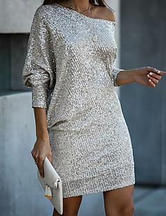 cheap -Women's Short Mini Dress A Line Dress White Long Sleeve Sequins Solid Color One Shoulder Fall Casual 2021 Regular Fit S M L XL
