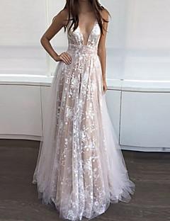 cheap -Women's Maxi long Dress Swing Dress Apricot Sleeveless Backless Floral V Neck Fall Spring Elegant Romantic 2021 S M L XL XXL / Party Dress