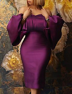 cheap -Women's Knee Length Dress Wrap Dress Blue Purple Yellow Long Sleeve Puff Sleeve Solid Color Strapless Spring Summer Party Elegant Sexy Lantern Sleeve 2021 Regular Fit S M L XL XXL