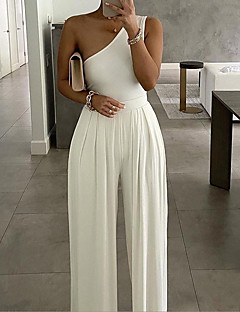 cheap -Women's Casual Daily Casual Going out Asymmetrical White Black Jumpsuit Backless Zipper Solid Colored