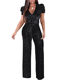 cheap -Women's Sexy 2021 Silver Gold Black Jumpsuit Solid Color