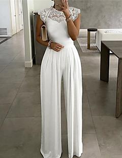 cheap -Women's Casual Streetwear Street Daily Wear Wide Leg Blue White Black Jumpsuit Lace Solid Colored
