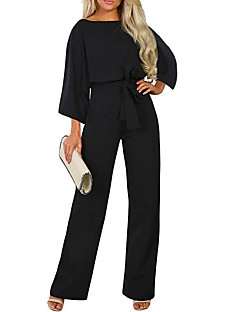cheap -Women's Ordinary Street Casual Daily Off Shoulder 2021 Khaki Black Navy Blue Jumpsuit Solid Color Patchwork