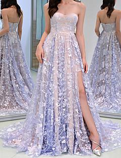 cheap -Women's Maxi long Dress Swing Dress Light Purple Sleeveless Split Embroidery Floral Off Shoulder Fall Spring Party Elegant Romantic 2021 S M L XL