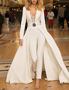 cheap -Women's Streetwear Party Evening Party Dress High Waist White Jumpsuit Lace Trims Solid Colored
