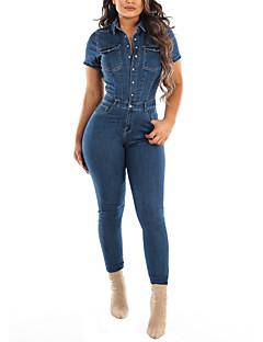 cheap -Women's Casual Streetwear Street Daily Wear High Waist Blue Jumpsuit Button Solid Colored