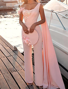 cheap -Women's Casual Streetwear Party Street High Waist Blushing Pink Jumpsuit Sequins Solid Colored