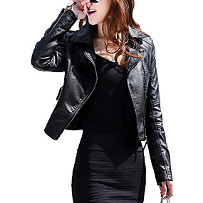 cheap -Women's Jacket Black Solid Colored Faux Leather Jacket Regular Fit PU Coat Shirt Collar  Spring Tops