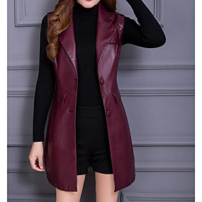 cheap -Women's Spring Shirt Collar Trench Coat Regular Solid Colored Daily Basic Black Red L XL XXL 3XL