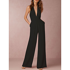 cheap -Women's Sexy Daily Wide Leg White Black Red Jumpsuit Solid Colored Backless