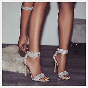 cheap -Women's Sandals Glitter Crystal Sequined Jeweled Stiletto Heel Open Toe Rhinestone / Sparkling Glitter Suede Business / Minimalism Spring &  Fall / Spring & Summer Almond / Black / Party & Evening