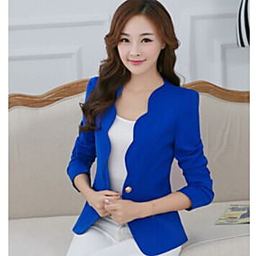 cheap -Women's Jacket Solid Colored Patchwork Basic Fall & Winter Short Daily Long Sleeve Jacket White / Cotton