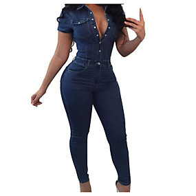 cheap -Women's Active Going out Shirt Collar Navy Blue Jumpsuit Solid Colored / Wide Leg