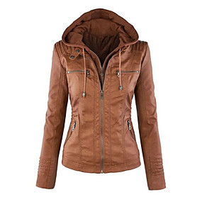 cheap -Women's Jacket Short Solid Colored Daily Basic Plus Size White Black Light Brown Brown XS S M L