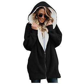 cheap -Women's Plus Size Zip Up Hoodie Sweatshirt Solid Colored Daily Streetwear Hoodies Sweatshirts  Long Sleeve Oversized Blue Blushing Pink Gray / Fall / Winter / Spring