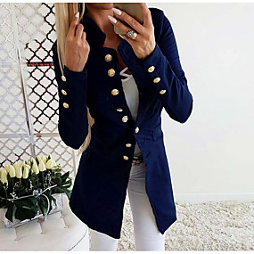 cheap -Women's Blazer Solid Colored Basic Long Sleeve Coat Fall Daily Long Jacket Blue / Stand Collar / Slim